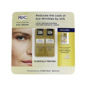 Retinol Correxion Eye Cream Duo Set: 2x Eye Cream 15ml + Line Smoothing Night Serum 10capsules (3pcs)