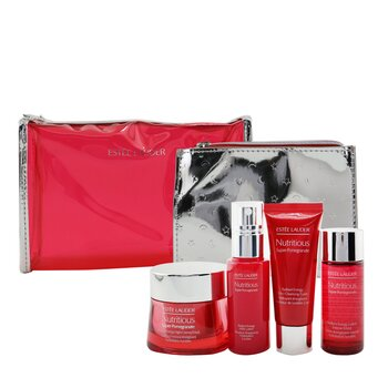 Nutritious Super-Pomegranate Nourish All Night Set: Night Creme+ Milky Lotion+ Lotion Intense Moist+ Cleansing Form..(Box Slightly Damaged) (4pcs+2bags)