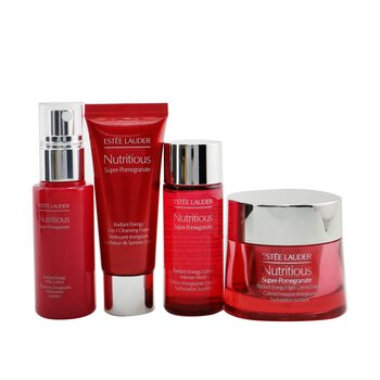 Nutritious Super-Pomegranate Nourish All Night Set: Night Creme+ Milky Lotion+ Lotion Intense Moist+ Cleansing Form... (4pcs+2bags)