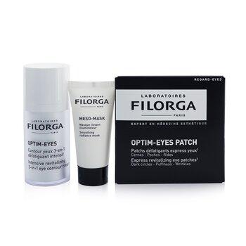 Les Essentials Filorga Set: Optim Eyes 15ml + Meso Mask 15ml + Optim Eyes Patches - 2patches (Box Slightly Damaged) (3pcs)