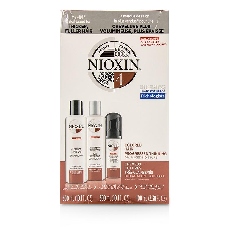 Nioxin 俪康丝 3D护理套装4 专业头发护理 平衡保湿适合逐渐稀疏的染后发质3pcs